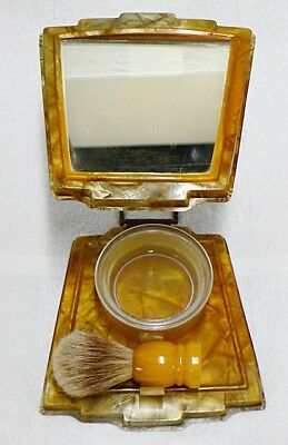 Vintage Gold Celluloid Shaving Stand With Mirror And Brush