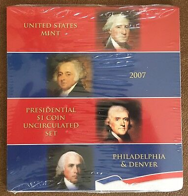 2007 United States Mint Sealed Presidential $1 Coin Uncirculated Set P&D 8 Coins