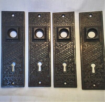 Antique Hardware, Door Plate, 1885, Cast Iron, Ornate, Eastlake Style, Deco
