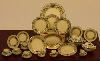 Dollhouse Miniature Orange Floral Porcelain Dinner Set