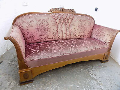 antique,edwardian,3 seat sofa,wood frame,purple fabric,sprung,padded,sofa,settee
