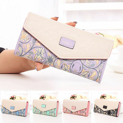 Women Flower Envelope Leather Wallet Card Button Clutch Purses Long Handbag Bags