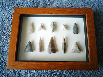 Neolithic Arrowheads in 3D Picture Frame, Authentic Artifacts 4000BC (0895)