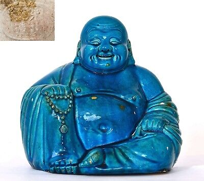 Early 20C Chinese Turquoise Crackle Glaze Porcelain Happy Buddha Figure Mk 朱茂記造