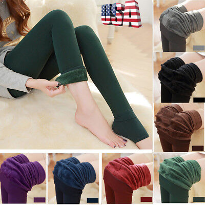 Women Solid Winter Leggings Thick Fleece Lined Thermal Stretchy Pants Stockings