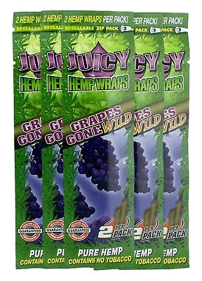 Juicy Jays Grape Hemp Wrap Rolling Papers FRESH 5 Pack RAW