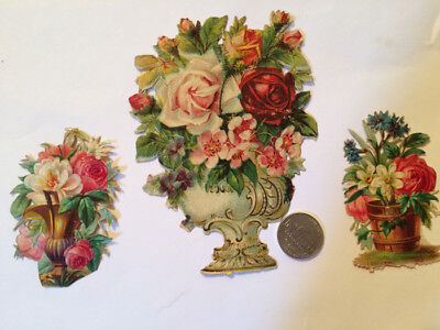 ANTIQUE VICTORIAN 1870's DIE CUT LARGE URN ROSES AND EXTRAS