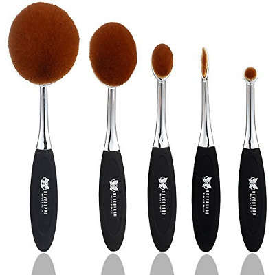 5Pc Set Fashion Toothbrush Beauty Shaped Oval Makeup Brushes+ Retail Box