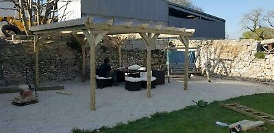2.7m x 2.4m  NOTCHED Wooden Garden Pergola NEW various post lengths available