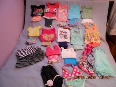30 Pc Mixed Lot Girls Size 24 Mos-2T Used Summer Clothing