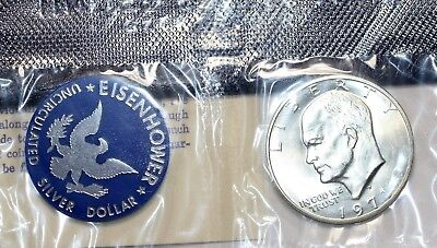 1971-S Dwight Ike Eisenhower Uncirculated 40% Silver Dollar US Mint Blue Pack