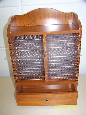 Wood Desktop Bill Mail Organizer Sorter 31 Day Slots & Drawer NICE
