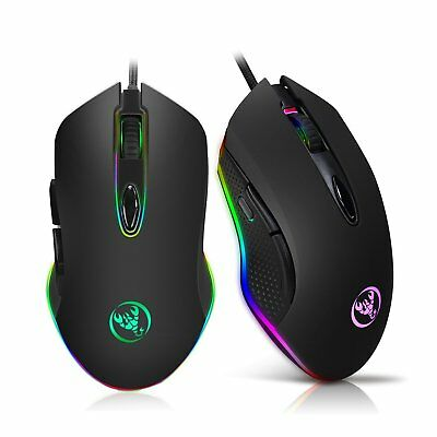 4800DPI Gaming Mouse Programmable 6 Buttons RGB Backlit USB Wired Optical Mouse