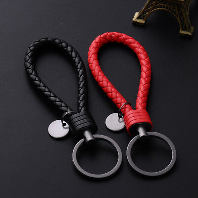 Black Vehicle Car Keychain Key Chain Key Ring Key Fob Leather Rope Strap Weave