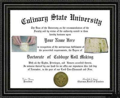 Cabbage Roll Maker's Doctorate Diploma / Degree Custom made & Designed for you