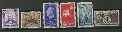 Stamps Romania 1942-45, Lot of  six issues, one value each, perforated  MNH