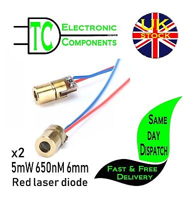 3V 5mW Laser Diode Copper Head 650nm 6mm Arduino Raspberry PI **UK SELLER**