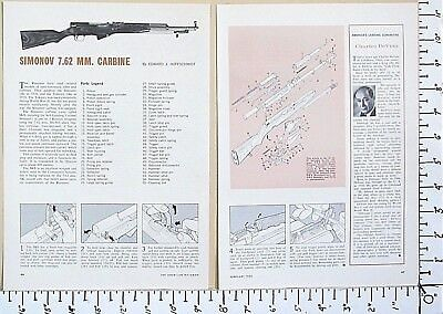 1965 SIMONOV 7.62x39mm CARBINE Russian SKS rifle EXPLODED VIEWS Article 3045