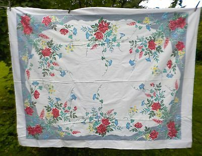 Vintage Tablecloth, Multi-Colored, Mid-Century, Printed Cotton