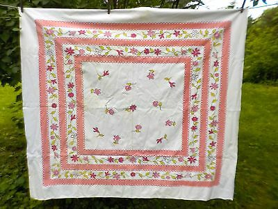 Vintage Tablecloth, Multi-Colored Pink, Mid-Century, Printed Cotton