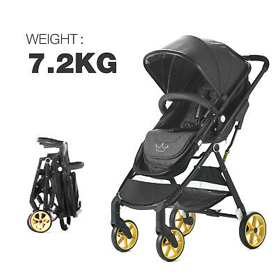 Baby Pram Pushchair Travel System Buggy Stroller 2 in1 Ultralight - Grey