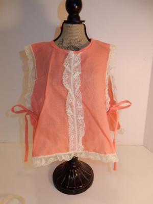Vintage 1950S Baby Doll Dress Smock Pinafore Pink & Lace For Composition Doll