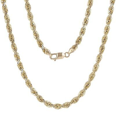 "14k Yellow Gold Solid Diamond Cut Twisted Rope Chain Necklace 26"" 6mm 65.8 gram"