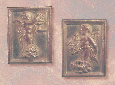 Cherub with Flowers and Cupid Bas Relief Sculptures Wall Decor Pair 6928