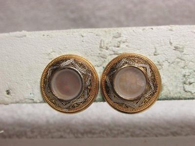 Vintage Faux Mother Of Pearl Faux Damascene Button Clip Earrings