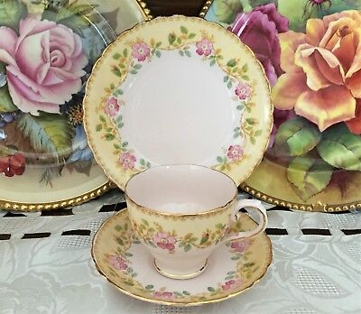 Vintage Tuscan Fine English Bone China Made In England Floral Trio C1947+