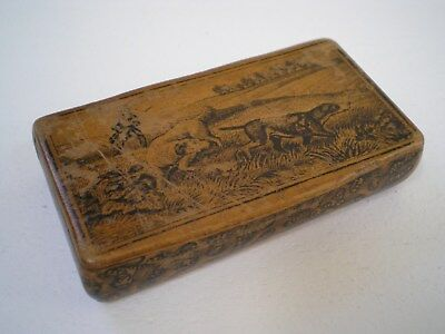 Victorian Mauchline Ware Wooden Snuff Box Decorated with Huntsman & Dogs