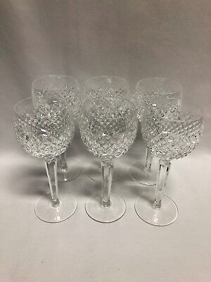 "Waterford Crystal Alana Wine Hock Goblets 7 3/8"" Set of 6"