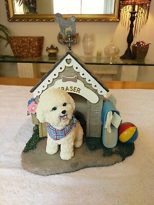 Danbury Mint Bichon Frise Home Sweet Home Doghouse Sculpture Statue Figurine