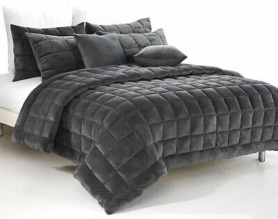 Plush Faux Mink Augusta Quilt Set  | Comforter Set  | Charcoal | Super King