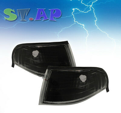 94-98 Ford Mustang Pair Front Corner Turn Parking Signal Lights Lamp Black