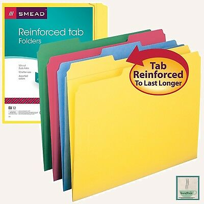 12 PK File Folders 1/3 Cut 2 Ply Tabs Letter Size Red Yellow Blue Green