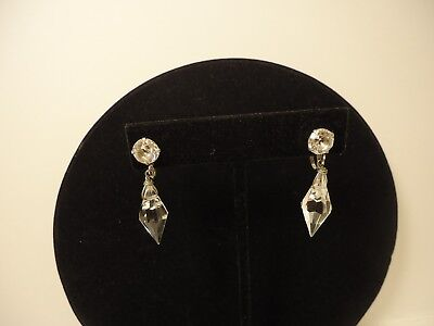 Vintage, Antique Crystal, Glass Drop Screwback Earrings .... Nice