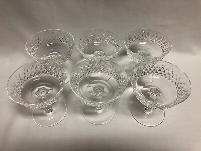 """Waterford Crystal Alana Sherbet Champagne Glasses 4 1/8"""" Set of 6"""