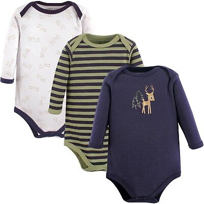 Lot of 3 LUVABLE FRIENDS BABY BOY FOREST DEER LONG SLEEVE BODYSUITS Newborn-3MO