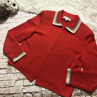 Red ST. JOHN Collection Marie Gray Santana Knit Zip Jacket Made in USA sz 8 #55