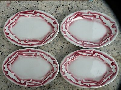 "4 Vintage Tepco Restaurant Airbrushed 10"" wide oval dishes / plates"