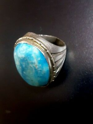 Antique Big Turquoise Ring Unique Jewelry For Decoration (Gemstone & Silver) Nu2