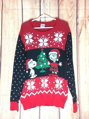 Euc Peanuts Charlie Brown Snoopy Ugly Christmas Sweater Sz Large L