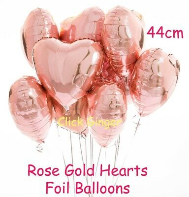 Rose Gold Heart Shaped Foil Balloons 44cm Helium Quality Hearts Balloon