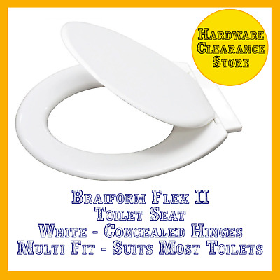 Toilet Seat & Lid Braiform Flex II Multi-Fit White with Concealed Hinges