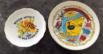 2 x Decorative Souvenir Miniature Plates Western Australia Map & WIld Flowers