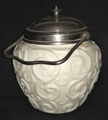 Biscuit Jar, art glass, OSM Co, Oneida, NY, repousse scroll, Art Nouveau,c1900