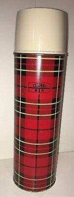 Vintage 1973 King Seeley Red Plaid Thermos Brand Bottle No. 2442 Scottish Excell