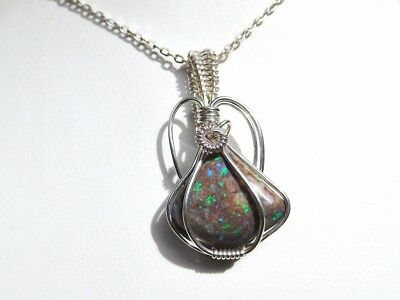 Andamooka Opal Matrix green blue sparkly sterling wire wrapped pendant