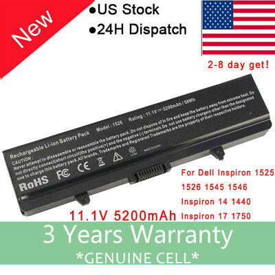 New Laptop Battery for Dell Inspiron 1525 1526 1440 1545 1546 1750 GW240 RN873